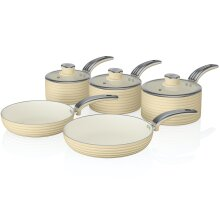 Swan Cream Retro Non-Stick 5pce Pan Set, 3 Saucepans 16/18/20cm & 2 Frying Pans 20/28cm with Tempered Glass Lids & Compatible with Induction Hobs