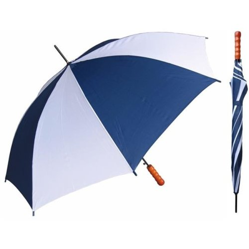 RainStoppers W007NYW 48 in. Auto Open Navy & White Sport Umbrella with Wood Handle, 12 Piece