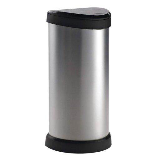 Curver Deco Black & Silver Push Bin 40L [247228] - Used