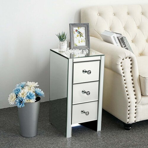 Glass Mirrored Bedside Tables Crystal Bedroom Drawer Storage Cabinet