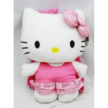 """Plush Backpack - Hello Kitty - Bling Pink Dress 15"""" New Soft Doll Toys 68387"""