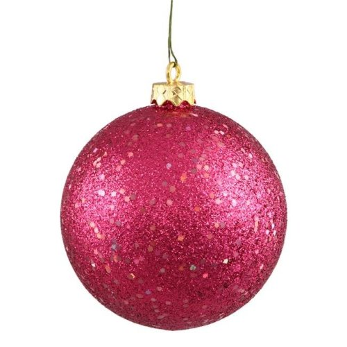 Wine Sequin Drilled Ball Ornament, 6 in. - 4 per Bag