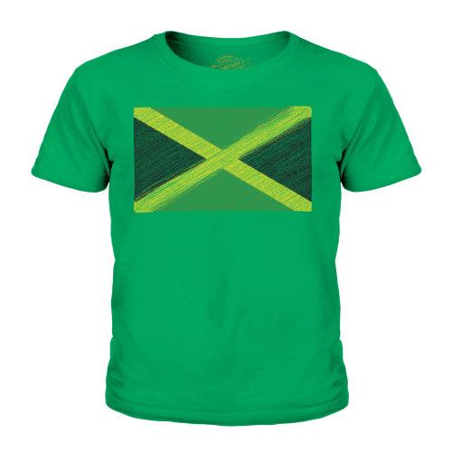 (Irish Green, 7-8 Years) Candymix - Jamaica Scribble Flag - Unisex Kid's T-Shirt