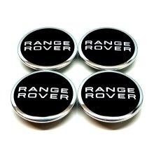 RANGE ROVER BLACK CHROME 63MM WHEEL CENTRE CAPS EVOQUE FREELANDER x 4
