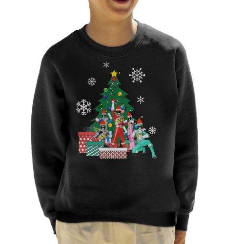 (X-Small (3-4 yrs), Black) Power Rangers Around The Christmas Tree Kid's Sweatshirt