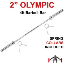 Olympic Barbell Bar 4ft Weight Lifting Gym Training Bars Collars