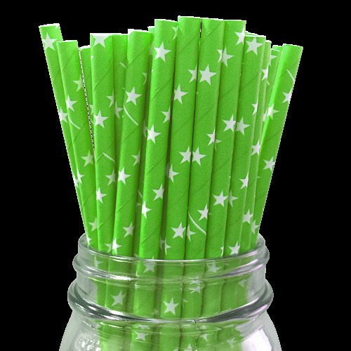 100 BIODEGRADEABLE PAPER DRINKING STRAWS RETRO DESIGNS
