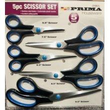 5pc scissors set black/blue handle