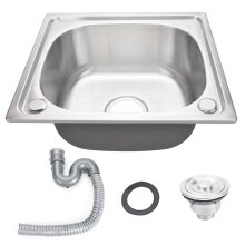 Stainless Steel Single Bowl Square Kitchen Laundry Washing Sink