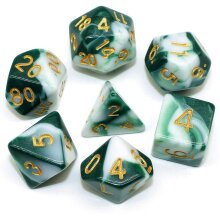 HD DICE Green White DND Polyhedral Dice Set for Dungeons and Dragons D&D RPG Pathfinder Role Playing Games Dice Set
