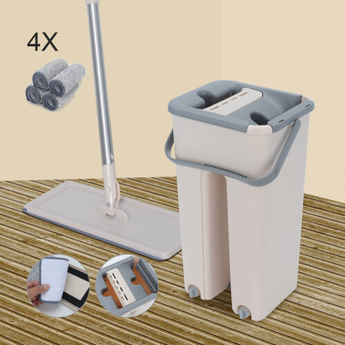 360 Flat Squeeze Mop & Bucket Set Home Floor Floor Mop Set+4 Pads