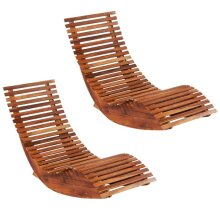 vidaXL 2x Acacia Wood Rocking Sun Loungers Outdoor Sun Day Bed Chaise Lounge
