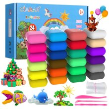 24 Colors Modeling Clay Set Air Dry Clay Kit for Kids with free tools Manuals Air Hardening Clay Kids Educational Creative Gift