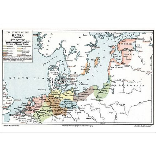 Map of the extent of the Hanseatic League in about 1400. Artist Unknown (Poster Print)