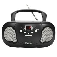 Groov-e Original Boombox Portable CD Player?AM/FM Radio?3.5mm Aux-In?PS733BK?Blk