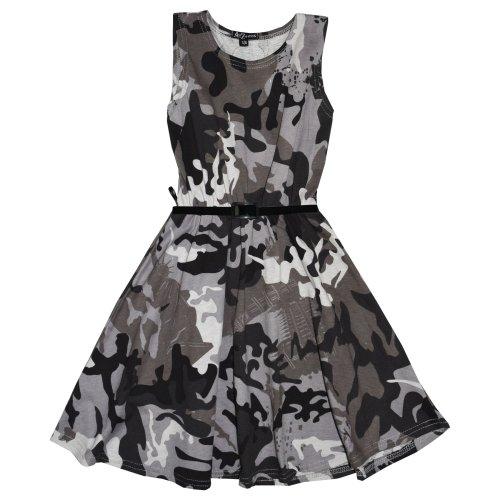 Girls Top Kids Camouflage Print Crop Top Legging Midi Dress New Age 7-13 Years