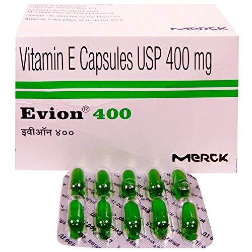 200 Evion Capsules Vitamin E For Glowing Face,Strong Hair,Acne,Nails, Glowing Skin 400mg
