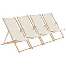 Wooden Deck Chair Folding Garden Beach Seaside Patio BBQ Deckchair Cream x4