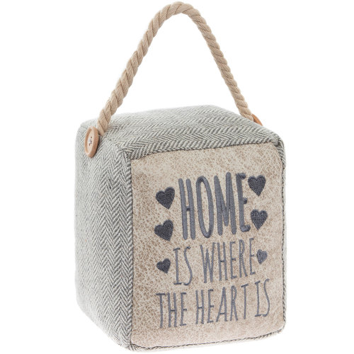 Home is Where The Heart Is Stuffed Doorstopper Heavy Block Wedge Plush Buffer