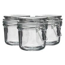 Glass Storage Jars Airtight Clip Top Lid Food Preserve Preserving Jar 350ml x6[White]