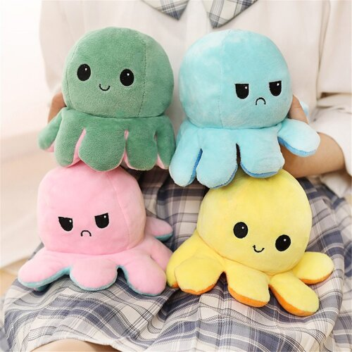 Pulpo Plush Animals, Children Double-Sided Flip Doll, Soft, Reversible Cute Toys