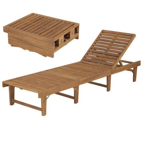 vidaXL Garden Wooden Folding Sun Lounger   Outdoor Recliner