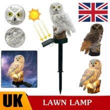 LED Powered Garden Light Outdoor Lawn Statue Owl Solar Yard Lamp