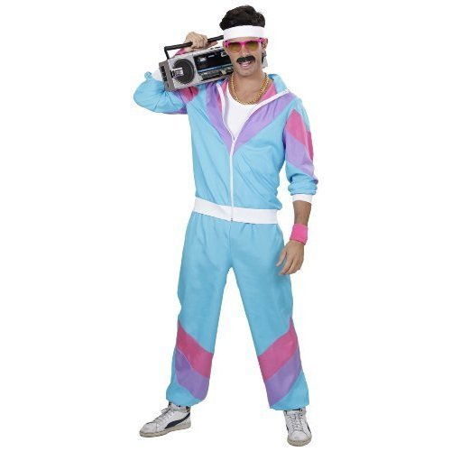 Mens 80/'s Shell Track Suit Adult Costume 1980/'s Fancy Dress Party Wear Outfit