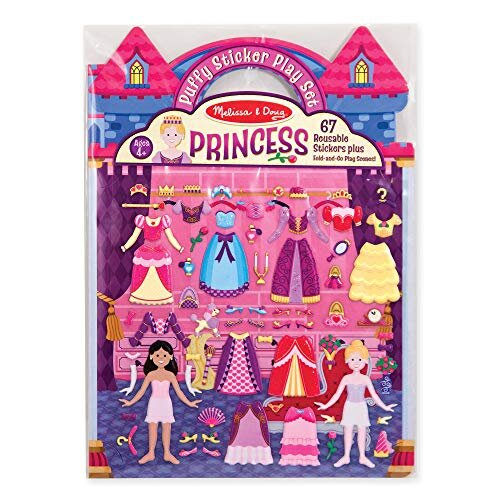 Melissa Doug Puffy Sticker Play Set Princess Reusable Activity Book 67 Stickers great for Travel great gift for girls and Boys Best for 4 5 6 7 and 8