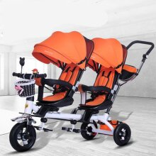 Baby Strollers Double Twin With Air Wheel, Universal Travel Pram Children Double Seat Baby Tricycle Carriage