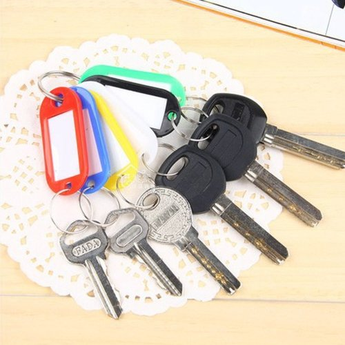 TRIXES Pack Of 50 Plastic Keyring Key Tags