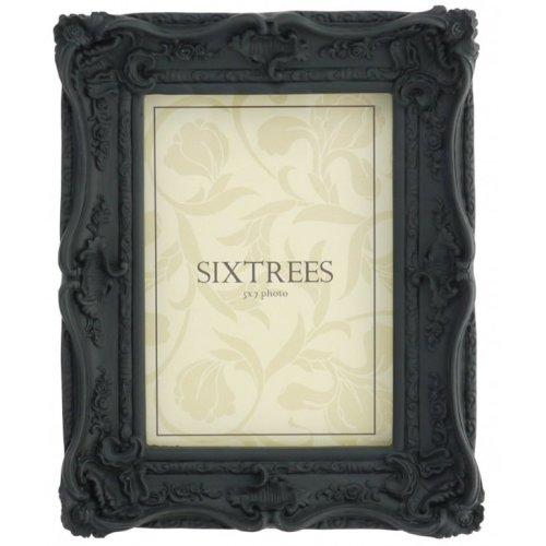 Sixtrees Chelsea 5-253-57 Shabby Chic Very Ornate Matt Black 7x5 inch Photo Frame