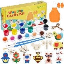 YISUYA Wooden Craft Kit for Kids Age 4-8, Kids Arts and Crafts Painting Kit, Art and Craft Supplies Party Favors for Boys Girls Age 4 5 6 7