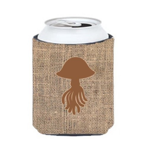 Jellyfish Burlap And Brown Can Or Bottle  Hugger
