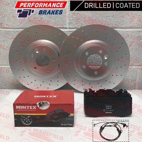 FOR RANGE ROVER 3.0 TDV6 FRONT DRILLED BRAKE DISCS MINTEX PADS WIRE SENSOR 380mm