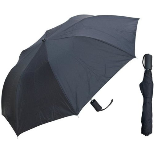 RainStoppers W003-RUB 42 in. Auto Open Deluxe Black Umbrella with Rubberized Handle, 6 Piece
