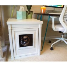 New Age Pet EHLB001-04 Habitat N Home Espresso Litter Loo End Table - Antique White