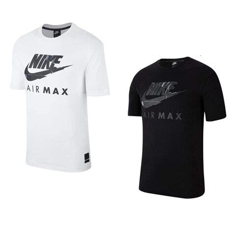 (Black, L) Nike Air Max T Shirt Black White