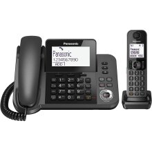 Panasonic KX-TGF320 Corded and Cordless Home office Telephone Kit with Answerphone and Nuisance Call Blocker - Black