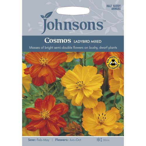 Johnsons Seeds - Pictorial Pack - Flower - Cosmos Ladybird - 30 Seeds