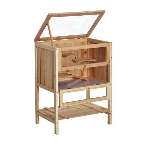 PawHut Wooden Hamster House   Large Wooden Hamster Cage