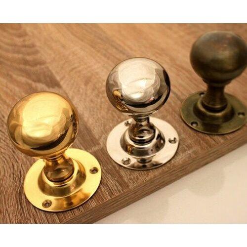Victorian Period Ball Round Door Mortice Knobs Handles Set Brass Nickel Antique