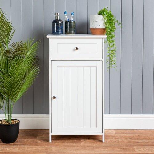 Bathroom Drawer Cabinet Wooden White Single Door Storage Cupboard Unit Christow