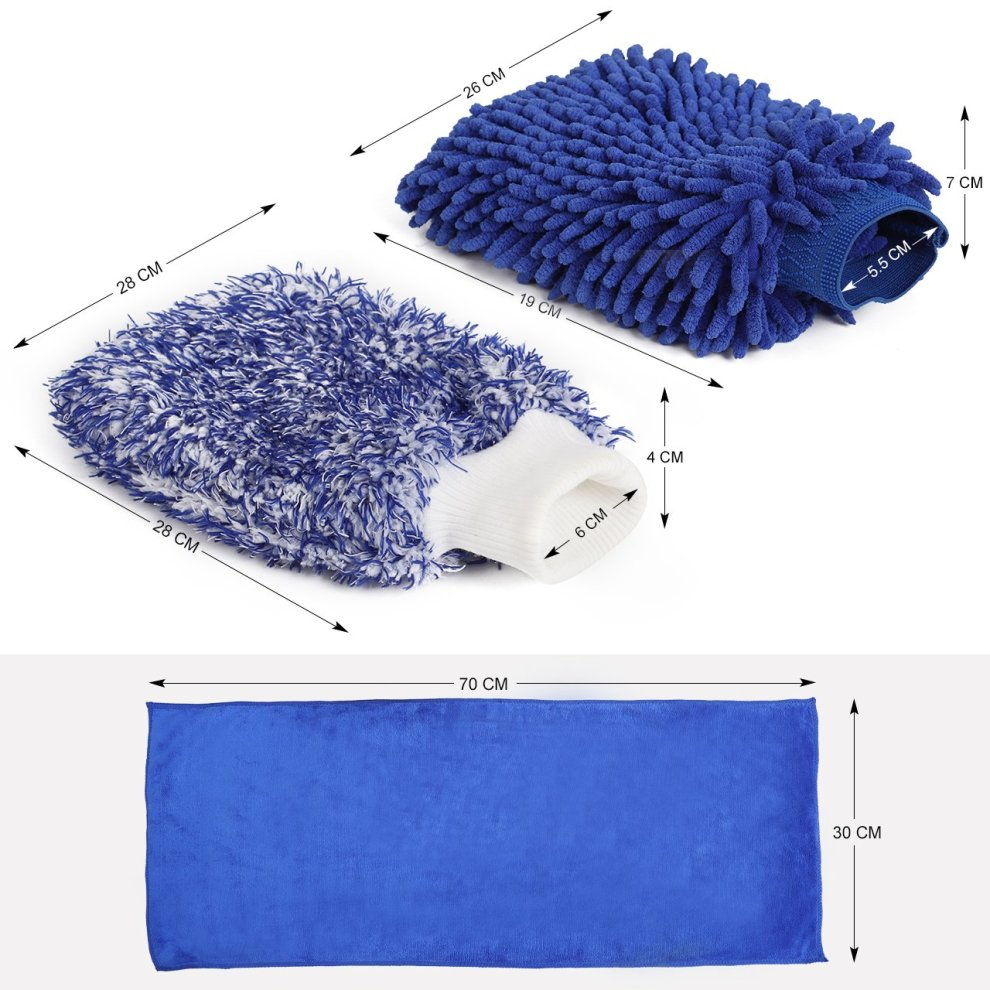 InnoGear 3-in-1 Car Wash Gloves Set 1 Pcs Microfiber Car Wash Mitt and 1Pcs Soft Coral Chenille Wash Glove and 1Pcs Wiping towel for Car Cleaning