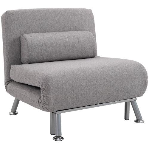 HOMCOM Sofa Chair Bed w/ Metal Frame Padding Pillow Home Furniture Space Saving, Grey