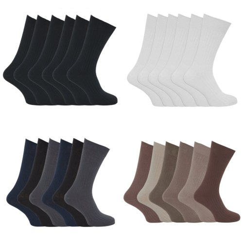 Mens XL Ribbed 100% Cotton Socks Sizes 11 To 14 (Pack Of 6)