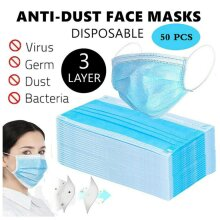 50pcs Face Masks Disposable 3 Layers Dustproof Mask Protective Cover