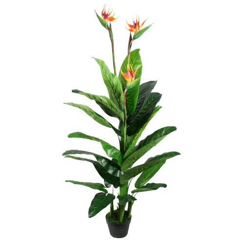 5 ft Artificial Bird of Paradise Plant Tropical Potted Strelitzia Flowers