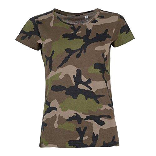 (XXL, Camouflage) SOLS Womens/Ladies Camo Short Sleeve T-Shirt