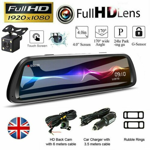 "10"" LCD Car DVR Touch Dash Cam Rearview Mirror 1080P FHD Camera Video Recorder"